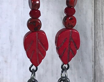Red Leaf and Beads Earrings