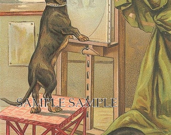 DACHSUND paint a portrait.Digital download.Rare. great for cards, decoupage, collage,sewing and so much more