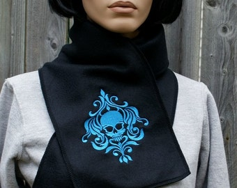 Damask Skull-- Embroidered Black Fleece Scarf  MTCoffinz - Choose Any Thread Color