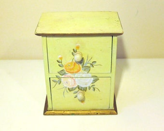 Folk Art Miniature Chest Of Drawer With Hand Painted Flower Decoration - A Beautiful Example - A Fine Jewellery Or Ring Box -