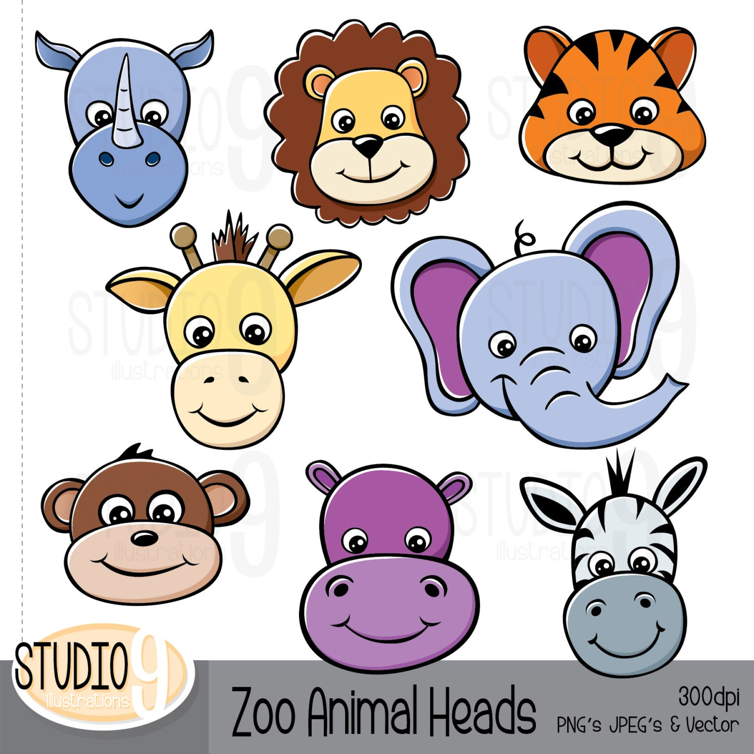 animal clipart zoo animal heads clip art zoo animal rh etsy com free zoo animal clipart zoo animals clip art black and white