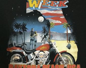 Vintage 80s Deadstock 3D Emblem  Bike Week Daytona Beach 1990 T shirt. Harley Davidson sz M