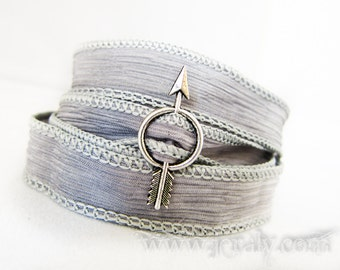Silver Arrow Charm Wrap Bracelet - Hunger Games Inspired Hand Painted Grey Silver Smoke Silk Ribbon - Cool Cloud Storm Colors - Yoga Jewelry