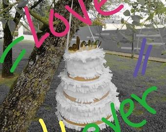Weeding Cake Pinata XXL|White Wedding décor|Golden Wedding decoration|Wedding decorations| White Wedding Cake| White Wedding| Party supplies