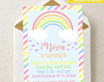Rainbow Birthday Invitation // Rainbow Invitation // Rainbow Birthday Party // Girl Invitation // Rainbow Invite // Under the Rainbow Invite