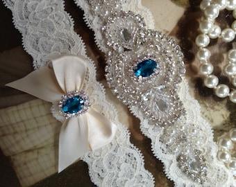 SALE-Weddings-Wedding Garter-Something Blue-Turquoise-Aqua-Vintage-Toss garter-Blue-Bridal Garter-Rhinestone-Ivory-Bridal White-Accessories