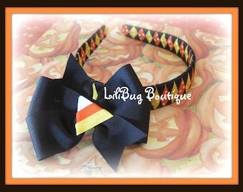LiliBug Fall Candy Corn Woven Headband and Hair Bow Set - Great for Halloween