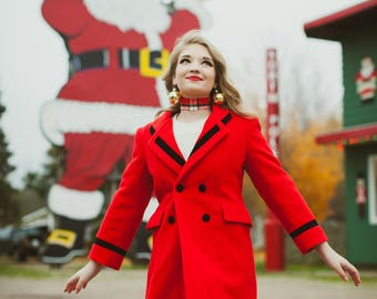 Christmas Bell Coat - Red and Black Holiday Pea Coat Double Breasted with hip pockets