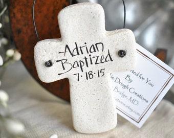 Personalized Cross Salt Dough Ornament First Communion Baptism Favor Napkin Ring