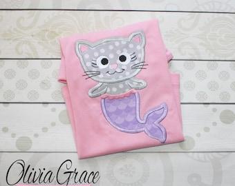 Cat Mermaid Shirt, Merkitty Shirt, Mercat Shirt, Merkitty Birthday, Mercat Birthday, Cat Mermaid Birthday Shirt, Girls Embroidered Shirt