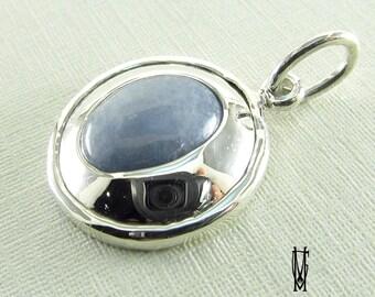 blue quarz jewelery pendant sterling silver925 pendant , elegant silver pendant, blue stoned pendant