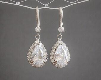 30% OFF, Crystal Bridal Earrings, Wedding Earrings, Teardrop Dangle Drop Earrings, Rose Gold Bridal Jewelry, Bridesmaid Earrings, CELENA
