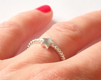 Balls and star 925 sterling silver ring
