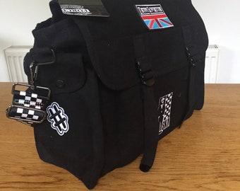 Black Canvas Bag - Shoulder Bag - Mod - SKA - Military Style - Festival Bag