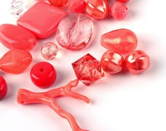 CORAL Acrylic Bead Mix - 50 gram bag - #ACR422