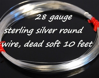 28 gauge wire etsy stertling silver round wire dead soft 28 gauge wire wraping wire 10 greentooth Choice Image