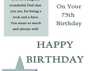 Dad 75 Birthday Card with removable laminate