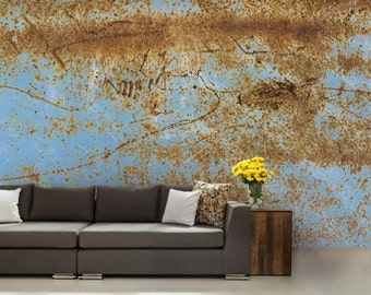 Texture WALLPAPER Metal Wallpaper Abstract Old Signs Rustic Wall Decal Blue
