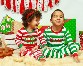 Christmas Pajamas Red And White Stripe Green Trim Boy Or Girl Monogram Personalized Pants Set Monogrammed