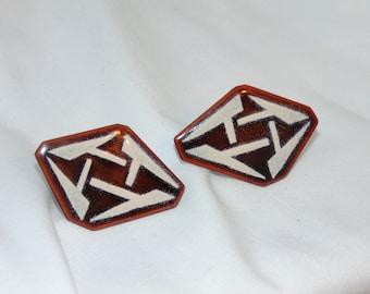 Enamel Cuff Links. Copper Cufflinks. MODERNIST. 1950s Cufflinks. vintage cuff links. 1960s Cufflinks. Mens Jewelry. Abstract. MCM