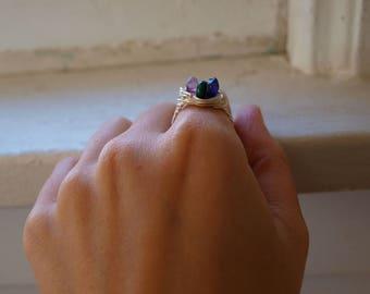Size 7.5 Crystal Ring - Silver Malachite Ring - Silver Fluorite Ring - Silver Amethyst Ring - Triple Goddess Ring - Purple Fluorite Jewelry