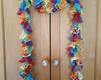 Somewhere Over the Rainbow Knit Ruffle Scarf
