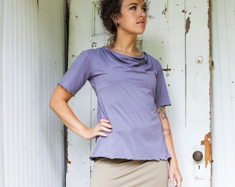 Drape Neck T Shirt - Organic Fabric - Made to Order - Many Colors Available - Eco Fashion