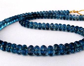 18k Gold London Blue Topaz Necklace, 18k Solid Gold Necklace, Solid Gold Necklace