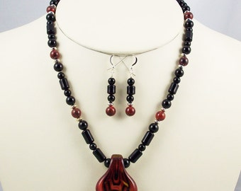 Bold Red and Black Borosilicate Lampwork Focal,Jasper,Onyx Necklace Set