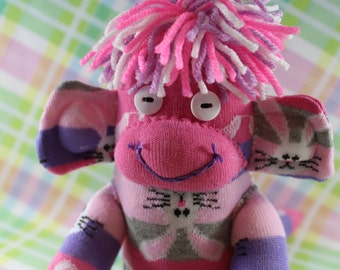 Sock Monkey / Easter Bunny / Striped / Pink Purple Grey / Striped / Bunny / Rabbit / Easter Decoration / Nursery Decor / Easter Gift