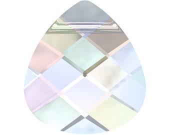 Swarovski Flat Briolette AB  6012 Crystal Pendant - 15.4mm x 14mm