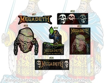 Megadeth Embroidered Patches Rock Band Heavy Metal Music Album Rust in Peace Thirteen Word Logo Skull with Chains Bones Dave Mustaine