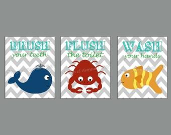 Brush Flush Wash Ocean Animals Bathroom Canvas Wall Art Set