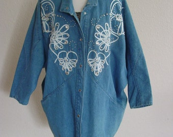 1980s Over Sized Denim Silver Studded Jacket/Casual Coat Outer Wear/Cowgirl