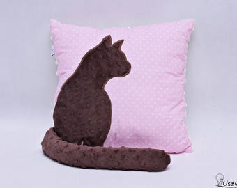 Cushion cat with a protruding tail, 3d effect, a protruding tail, pillow with a cat, decorative pillow, gift for cat lady, cat lover gift