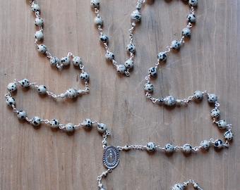 Dalmatian Jasper and Sterling Silver Rosary