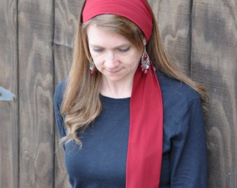 Women's Burgundy Stretch Hair Wrap, head scarf, hair scarf, headband, hair tie, head covering, headscarf, hairscarf, head band, handmade