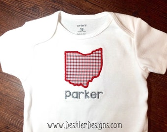 State of Ohio Applique Onesie - Ohio State Onesie