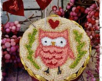 Owl u need LOVE Punchneedle PDF Pattern - valentine needle punch floss flower bright pink red