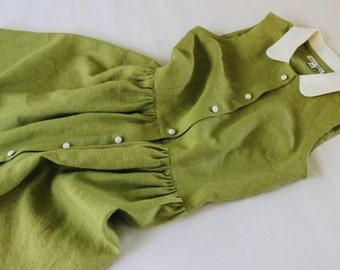 Green Linen Sleeveless Sun Dress / Fabric Buttons / Soft Linen / Peterpan Collar / Made To Order