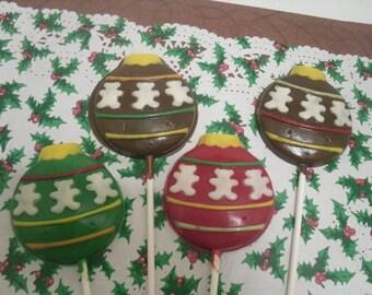 A dozen Christmas Ornament Lollipops