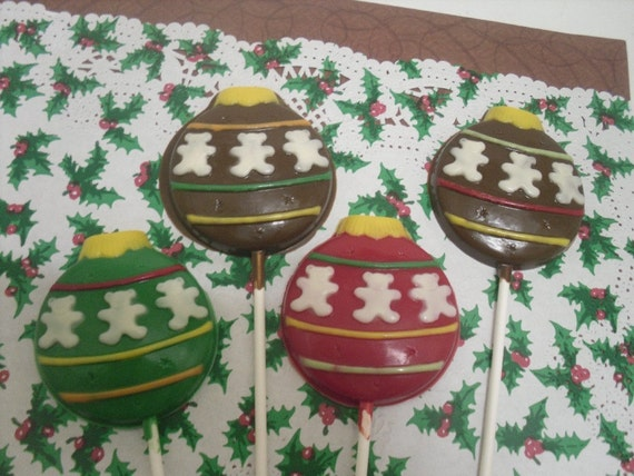 A dozen Christmas Ornament Lollipops