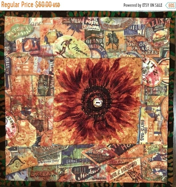 Hot Summer Sale Sassy Sunflowers in My Library #2 10x10 inch mini art quilt