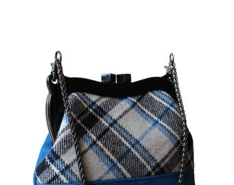 Suede bag with Wool, Blue wool bag, purse bag, suede blue bag, blue purse bag, English style, frame bag, purse bag, luxury bag from France