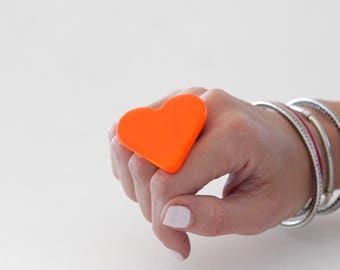Neon Heart, Ceramic Ring, Ceramic Jewelry, Gift for Her, adjustable ring, statement ring, cocktail ring - handmade ring, orange heart ring.