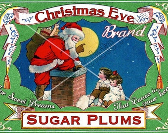 Vintage Christmas Tag Printable Label Sugar Plums Digital Collage Sheet Graphics Scrapbook Image
