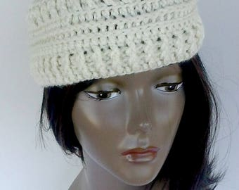 Women Handmade Crochet Headband Ear Warmer, Cream Headband, Fall Winter Hair Accessory,