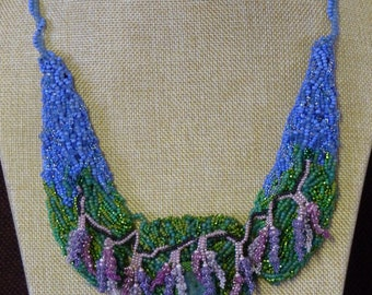 In the Garden: Bead embroidery necklace