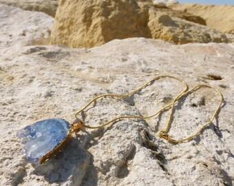 Spirit blue gemstone necklace Bohemian brass chain