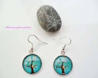 Glass cabochon earrings * tree of life * color Brown, turquoise, yellow, white, green, pink
